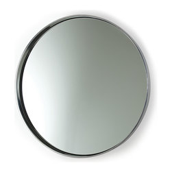 Ollie Polished Aluminum Mirror - Simplicity itself on the wall of an entryway or above a vintage vanity, the Ollie Polished Aluminum Mirror gives a clean, classic freshness to your decor. Perfectly round and simply enclosed in a curved frame of bright metal, this circular wall mirror is a luxury production of a shape made classic by its purity, the mirror clear and lucid within the gleaming ring of the silver metal frame.