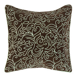 Surya - Genk Brown/ Blue Decorative Pillow - This floral brown/blue decorative throw pillow can be used to complement a couch or bedroom suite. The soft blue and espresso color palette is extremely modern and chic, while suitable for both a contemporary and traditional home decor.