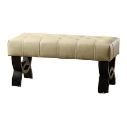 Armen Living - Armen Living Central Park 36-in. Tufted Leather Ottoman - LC5012BEBCBL36 - Shop for Ottoman & Footstools from Hayneedle.com! Complete your decorating vision with the contemporary Armen Living Central Park 36-in. Tufted Leather Ottoman. Featuring stylish wood legs and a luxurious padded leather seat this versatile piece offers a touch of cool confidence to any room. In the home the modern design will jazz up any space whether it's a hallway foyer or dining room. In the office the unique tufted leather material will show clients your artistic style and unique taste. About Armen LivingImagine furniture without limits - youthful robust refined exuding self-expression at every angle. These are the tenets Armen Living's designers abide by when creating their modern furniture collections. Building on more than 30 years of industry experience Armen Living combines functional versatility and expert craftsmanship into their dramatic furniture styles all offered at price points fit for discriminating budgets. Product categories include bar stools club chairs dining tables ottomans sofas and more. Armen Living is based in Sun Valley Calif.