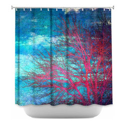 DiaNoche Designs - Shower Curtain Artistic Abstract Tree II - Sewn reinforced holes for shower curtain rings. Shower Curtain Rings Not Included. Dye Sublimation printing adheres the ink to the material for long life and durability. Machine Washable. Made in USA.