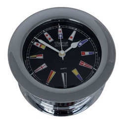 """Weems & Plath Chrome Atlantis Quartz Clock Black Flag Dial - The weems  plath chrome atlantis quartz clock black flag dial measures 4"""" dial x 5.5"""" base x 2.75"""" depth. The face of the clock is black with colorful nautical flags for the numbers. The front-opening screw bezel case is constructed of solid, forged brass that is chrome-plated with a coat of lacquer to ensure a lasting shine. Several wood bases are available for this clock. It comes with complete instructions and mounting hardware. It carries a limited lifetime warranty  comes with a fresh battery."""