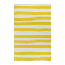 Fab Habitat - Lucky - Yellow & White Rug (6' x 9') - You know how happy you feel when a pet or a loved one greets you at the door when you walk into your home? This inviting rug elicits a similar response. In both cases, a cheerful disposition can't help but bring a smile to your face.