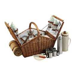 Huntsman Wicker Picnic Basket for 4 - Gazebo - Picnics will become even more fun and interesting with the Huntsman Wicker Picnic Basket for 4 – Gazebo. Traditional in style it's handcrafted from full reed willow for greater appeal and durability. Designed in the U.S. this trendy basket has a leather handle and hinge covers for easy portability. It comes complete with numerous accessories like wine glasses ceramic plates stainless steel flatware a hardwood cutting board spill-proof salt and pepper shakers etc. About Picnic at AscotDay or evening beachside or backyard picnics are a favorite event. By introducing Americans to the British tradition of upmarket picnics over a decade ago Picnic at Ascot created a niche for picnic products combining British sophistication with an American fervor for excitement and exploration. Known as an industry leader in the outdoor gift market Picnic at Ascot houses a design staff dedicated to preserving the prized designs and premium craftsmanship signature to the company. Their exclusive products are carried only by selective merchants. Picnic at Ascot provides quality products that meet the demands of today yet reflect classic picnic style.