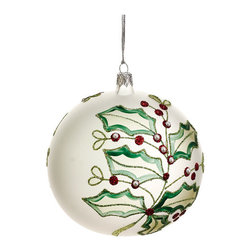 Silk Plants Direct - Silk Plants Direct Glittered Holly and Mistletoe Glass Ball Ornament (Pack of 2) - Silk Plants Direct specializes in manufacturing, design and supply of the most life-like, premium quality artificial plants, trees, flowers, arrangements, topiaries and containers for home, office and commercial use. Our Glittered Holly and Mistletoe Glass Ball Ornament includes the following: