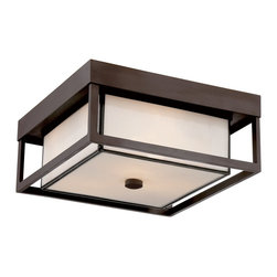 Quoizel - Quoizel PWL1613WT Powell Otdoor Flush Fixture - Enhance the exterior of your home with this unique and unadorned Powell collection.  The shadowbox is striking in a western bronze finish and is contrasted beautifully by the rectangular white art glass.