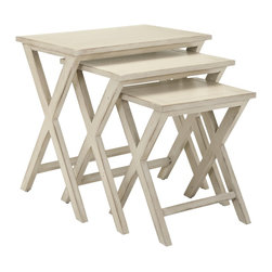 Safavieh - Safavieh Maryann Stacking Tray Tables X-A3756HMA - So classic they'll complement any decorating theme from country to transitional, the Maryann stacking tray tables are a wonderful small space accessory. Crafted of poplar wood with white washed finish, they're perfect for parties or for snacks and drinks