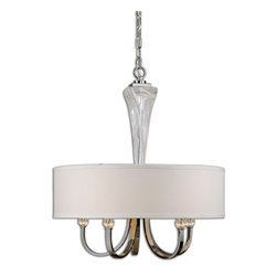 Grancona 5 Light Drum Shade Chandelier - *Thick Twisted Glass With Polished Chrome Plated Details, Crystal Accents And A Hardback, White Linen Fabric Shade.
