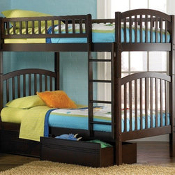 Columbia Bunk bed in Antique Walnut by Atlantic Furniture - The Columbia Bunk Bed is the perfect mission-style bunk bed for your children's bedroom. Available in twin-over-twin, twin-over-full, or twin-over-futon designs with railings on the top bunk, the sturdy Columbia Bunk Bed is constructed of solid hardwood. Add optional under-bed storage drawers or an optional trundle unit (neither option works with twin-over-futon style) under the bed to provide even more convenient space. The bunk bed comes with two modesty panels, which can be attached to both ends of the bunk bed to give the Columbia Bunk Bed a more grounded look. Available in Natural Maple, Antique Walnut, and White finishes, the Columbia Bunk Bed is sure to become your child's favorite sleepy-time fort.