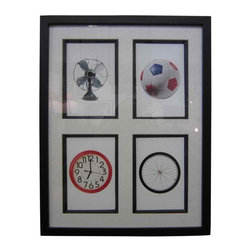 Framed Flash  Cards II - This combination puts circular shapes together in random visual poetry: clock, fan, ball & tire...fun and affordable.Frame is a square profile black wood composition with a white mat - the mat is highlighted by black wood composition fillets around each flash card.