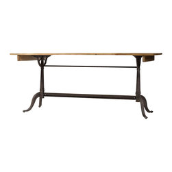Marco Polo Imports - Merlin Dining Table-Bleached Pine - Industrial dining table crafted from quality pine with a metal base and a bleached pine finish.