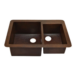 "Artesano Copper Sinks - Undemount Kitchen Copper Sink - Double Basin - Undemount Kitchen Copper Sink - Double Basin - 33 x 22 x 10.5"" - Rim 2"" - Inside Large Basin 16.5 x 18 x 10"" - Inside Small Basin 11.5 x 16 x 8.5""- Drain 3.5"""