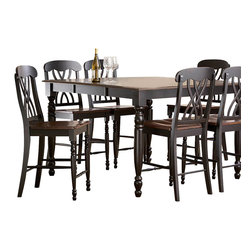Homelegance - Homelegance Ohana 8-Piece Counter Height Dining Room Set in Black/ Cherry - The design of Ohana collection captures the essence of a casual country home. Its antique white and warm cherry, or antique black and Warm cherry finishes give it a striking 2-toned appearance.