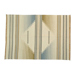 Ivory Durie Kilim Hand Woven Rug 6x8 Flat Weave 100% Wool Reversible Rug SH14523 - Soumaks & Kilims are prominent Flat Woven Rugs.  Flat Woven Rugs are made by weaving wool onto a foundation of cotton warps on the loom.  The unique trait about these thin rugs is that they're reversible.  Pillows and Blankets can be made from Soumas & Kilims.