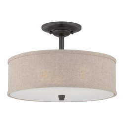 Quoizel - Quoizel CRA1717MC Cloverdale Semi-flush Mount Ceiling Light - The Cloverdale Collection is a simple statement that packs plenty of design punch. The textured shade treatment and Mottled Cocoa finish provide aesthetic interest without detracting from surrounding decor.