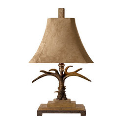 Uttermost - Uttermost 27208 Stag Horn Table Lamp - Uttermost 27208 Carolyn Kinder Stag Horn Table LampThis masculine lamp is finished in a natural brown and ivory with scratched silver and cast aluminum accents.  The brushed palomino sueded shade is a rectangle bell with clipped corners.Features: