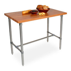 """Frontgate - John Boos Cherry Kitchen Work Table - 1-1/2"""" thick solid American cherry top. Heavy duty stainless steel open H-base can accommodate tow counter stools on either side. Blended construction for a dense grain and exceptionally hard surface. Some assembly required. This John Boos Cherry Kitchen Work Table features a food service grade stainless steel base with center bracing for superior stability. The beautiful cherry top has an exclusive semi-gloss finish to protect the rich wood grain from stains, making clean-up a breeze. Used either for food prep or kitchen dining, this table will deliver many years of service in your home.. . . . Manufactured in USA from renewable American hardwoods."""