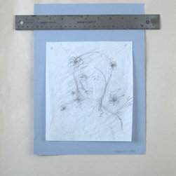 """""""Fifth House of Venus"""" Artwork - This is a piece done in the spirit of the fifth house of Venus, which is the apogee of the planet in its orbit around the sun. The drawing is a figure study of a Graeco-Roman Aphrodite. The Greek name for Venus' fifth house is written in the corner. The drawing is on a thin piece of translucent vellum, and is lightly tacked on the corners onto a blue piece of paper that is adhered to a tan piece of paper. This work also incorporates found objects, as there is a steel ruler placed horizontally across the top."""