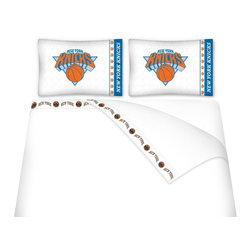 Sports Coverage - Sports Coverage NBA New York Knicks Microfiber Sheet Set - Queen - NBA New York Knicks Microfiber Sheet Set have an ultra-fine peach weave that is softer and more comfortable than cotton! This Micro Fiber Sheet Set includes one flat sheet, one fitted sheet and a pillow case. Its brushed silk-like embrace provides good insulation and warmth, yet is breathable. It is wrinkle-resistant, stain-resistant, washes beautifully, and dries quickly. The pillowcase only has a white-on-white print and the officially licensed team name and logo printed in team colors. Made from 92 gsm microfiber for extra stability and soothing texture and 11 pocket. Sheet Sets are plain white in color with no team logo. Get your NBA Sheets Today.   Features:  -  92 gsm Microfiber,   - 100% Polyester,    - Machine wash in cold water with light colors,    -  Use gentle cycle and no bleach,   -  Tumble-dry,   - Do not iron,