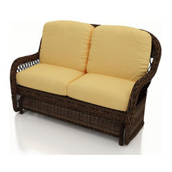 Forever Patio - Leona Wicker Patio Double Glider, Canvas Wheat Cushions - The Forever Patio Leona Rattan Outdoor Double Glider with Gold Sunbrella cushions (SKU FP-LEO-DG-MC-CW) is both comfortable and elegant with its roomy seating and sweeping curves. The mocha-colored wicker is UV-protected, and features two tones that give it a more natural, traditional look. Each strand of this outdoor wicker is made from High-Density Polyethylene (HDPE) and is infused with its rich color and UV-inhibitors that prevent cracking, chipping and fading ordinarily caused by sunlight. This outdoor patio glider is supported by thick-gauged, powder-coated aluminum frames that make it more durable than natural rattan. This chair includes fade- and mildew-resistant Sunbrella cushions, adding comfort to your outdoor space.