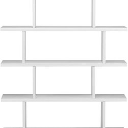 3.14 White Bookcase - A big sculptural bookcase will house your many tomes. Arrange them in color order for extra points.