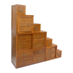 Golden Lotus - Oriental Japanese Style Step Tansu Cabinet - This is a Japanese style step Tansu cabinet with natural wood brown stain color. It is combination of two pieces, top is the triangle with 4 drawers and shelf, the bottom has a flat top and six drawers. They can be used separately.  Two sides access.