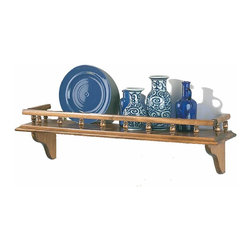 "Renovators Supply - Shelves Antique Pine 28"" Captain's Shelf - Solid pine with hardwood spindles.  This shelf is 7 1/4 high, 28"" long, and 7"" deep.  Antique finish, refer to sample below."