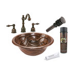 Premier Copper Products - Round Braided Self Rimming Sink w/ ORB Faucet - PACKAGE INCLUDES: