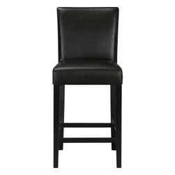 "Lowe Onyx 24"" Leather Bar Stool - The style is classic Parsons. The colors are both fashion-forward and classic. The look is bold and modern in soft pebbled bicast leather with double saddle-stitching. Generous seat makes for comfortable seating at a high dining table or kitchen bar. Crafted of solid birch with legs stained a rich ebony."