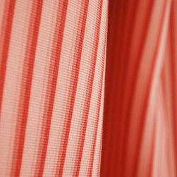 Pink Striped Drapery Fabric By The Yard - Pink and red striped drapery fabric. Horizontal repeat is .5 inches. Cotton fabric great for pillow, bedding, and draperies.