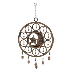 Benzara - Celestial Wind Chime with Circular Design - Spruce up your home decor with this Beautiful Metal Wind Chime with Celestial Design (25 in. H) . With a moon and a star at the centre of the design, this wind chime features multi-colored beads tied of metal bells hung in circles around the centre. Large metal bells are suspended below the circular structure using metal links. The peaceful and contented expression of the moon sitting pretty amidst a cluster of sweet tinkling bells is a visual delight and exudes unmatched appeal. Hang it up at your bedroom window or use it as a great wall piece. The metal links and hook used for this wind chime are strong preventing any accidental falls and damage. Made from metal that is rust-proof, this masterful work of art is durable and has a totally rustic charm. It is also an ideal gifting option for your colleagues..
