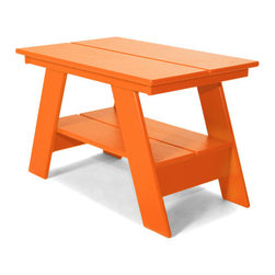 Loll Designs - Adirondack Table, Sunset Orange - Our modern Adirondack Table has been redesigned with all recycled poly and hidden fasteners. The Adirondack Table is available in all colors and with a convenient lower shelf for extra storage, it works well with any of our outdoor lounge chairs.