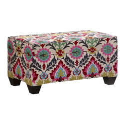 Floral Storage Bench - We love nothing more than a cool and clever storage solution, and this one might be our new favoritea cushioned storage trunk that doubles as seating! A beautiful vivid floral pattern makes it a focal point in any room.