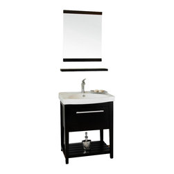 Bellaterra Home - 27.5 Inch Single Sink Vanity-Wood-Black - Flexibility in creating or updating your bath, wherever you live, whatever your bath size. This vanity has the clean lines and white porcelain tops, sparked with brush nickel finished hardware and big functional drawer pulls, reflect a contemporary sophistication. Elegant simplicity and a textured black finish keynote this versatile vanity and white top set. These sink vanities is made with all wood, installed with genuine Blum soft close drawing glides, come with white vitreous china top.