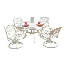 "Home Styles - Home Styles Biscayne 5PC 42"" Dining Table Set - Home Styles - Dining Sets - 5552305C - Home Styles Biscayne 5PC Set includes 42"" inch Round Outdoor Dining Table and Four Swivel Chairs with Sunbrella Green Apple fabric Cushions. Set is constructed of cast aluminum with a White finish. Features include powder coat finish sealed with a clear coat to protect finish attractively patterned table top has center opening to accommodate umbrellas and nylon glides on all legs. Table Size: 42w 42d 30h. Chair Size: 24.4w 22d 33.46h. Seat height 16h. Stainless steel hardware."