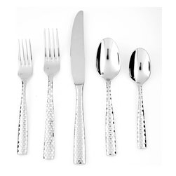 Frontgate - Lucca Flatware 5-piece Place Setting - Stainless steel includes 18% chrome and 10% nickel, making it the most luminous and hard-wearing blend of stainless available. 18/10 blend provides notable heft for a bold feel. Includes salad fork, dinner fork, knife, soup spoon, and teaspoon. Dishwasher safe. Our Lucca Faceted Five-piece Place Setting invites attention with its distinctive faceting in a honeycomb jewel cut. The set brings long-lasting performance with its heavy-gauge 18/10 stainless steel construction. Safe in the dishwasher, these utensils are durably built for everyday use while stylish enough to pair with any occasion.. . . .