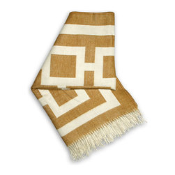 """Jonathan Adler - Jonathan Adler Nixon Camel Throw Blanket - Snuggle in style wrapped in this luxe throw blanket by modern design icon Jonathan Adler. Made from baby alpaca for an uber-soft hand, the fringed Nixon throw performs double duty accenting a sofa or bed with geometric flair. 60"""" x 60""""; Reversible pattern in camel and natural; 100% baby alpaca (the finest shearing from an adult); Dry clean only; Hand-loomed by Peruvian artisans; Sustainably produced with Aid to Artisans, a non-profit organization that connects designers in America with artisans in developing countries to promote fair trade"""