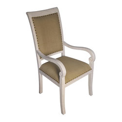 Noir - Noir - Henry Arm Chair, White Wash - White Washed Mahogany Wood, with Olive Cotton