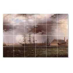 Picture-Tiles, LLC - Old Brooklyn Navy Yard Tile Mural By James Buttersworth - * MURAL SIZE: 32x48 inch tile mural using (24) 8x8 ceramic tiles-satin finish.