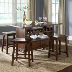 """Liberty Furniture - Cabin Fever Formal 5 Piece Counter Height Dining Set - Features: -Set includes center island dining table and 4 barstools. -Cabin Fever Formal Dining collection. -Bistro Brown finish. -Oak planked tops. -Wine bottle storage. -Pewter knob and pull hardware. -Decorative groove in table top surface. -Tapered block legs. -Nylon chair glides. -Manufacturer provides one year limited warranty. Dimensions: -Table: 36"""" H x 60"""" W x 36"""" D. -Chair: 35"""" H x 43"""" W x 19"""" D. -Cabin Fever Formal Dining Sawhorse Barstool: 24"""" H x 18"""" W x 14"""" D. -Cabin Fever Formal Dining Server 38"""" H x 52"""" W x 18"""" D."""