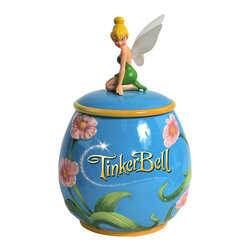 Disney - Tinker Bell Sitting Cookie Jar - How cute! Tiny Tinker Bell guards crisp cookies in this fan-favorite jar. Constructed from durable, food-safe materials and equipped with a pop-off top, it keeps tasty treats fresh and safe from sticky fingers.   10.75'' H x 6.25'' diameter Ceramic Hand wash Imported