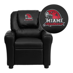 "Flash Furniture - Miami University of Ohio RedHawks Black Leather Kids Recliner with Cup Holder an - Get young kids in the college spirit with this embroidered college recliner. Kids will now be able to enjoy the comfort that adults experience with a comfortable recliner that was made just for them! This chair features a strong wood frame with soft foam and then enveloped in durable leather upholstery for your active child. This petite sized recliner is highlighted with a cup holder in the arm to rest their drink during their favorite show or while reading a book. Miami University of Ohio Embroidered Kids Recliner; Embroidered Applique on Oversized Headrest; Overstuffed Padding for Comfort; Easy to Clean Upholstery with Damp Cloth; Cup Holder in armrest; Solid Hardwood Frame; Raised Black Plastic Feet; Intended use for Children Ages 3-9; 90 lb. Weight Limit; CA117 Fire Retardant Foam; Black LeatherSoft Upholstery; LeatherSoft is leather and polyurethane for added Softness and Durability; Safety Feature: Will not recline unless child is in seated position and pulls ottoman 1"" out and then reclines; Safety Feature: Will not recline unless child is in seated position and pulls ottoman 1"" out and then reclines; Overall dimensions: 24""W x 21.5"" - 36.5""D x 27""H"