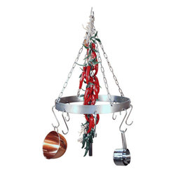 HSM - Round Stainless Steel Galley Pot Rack - Dimensions: