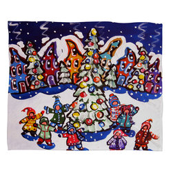 DENY Designs - DENY Designs Renie Britenbucher Oh Christmas Tree Fleece Throw Blanket - This DENY fleece throw blanket may be the softest blanket ever! And we're not being overly dramatic here. In addition to being incredibly snuggly with it's plush fleece material, you can also add a photo or select a piece of artwork from the DENY Art Gallery, making it completely custom and one-of-a-kind! And when you've used it so much that it's time for a wash, no big deal, as it's machine washable with no image fading. Plus, it comes in three different sizes: 80x60 (big enough for two), 60x50 (the fan favorite) and the 40x30. With all of these great features, we've found the perfect fleece blanket and an original gift!