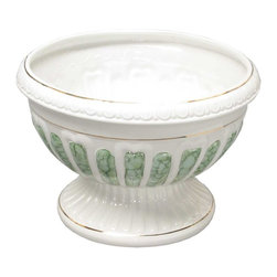 Renovators Supply - Planters White/Green Ceramic Ceramic Vase Planter 13 H x 18 Dia - Ceramic Vases make for luxurious decor indoor or out. Use these decorative vases for plants or for other architectural elements in a room, outside patio or balcony. Showcase a favorite plant or bouquet of flowers.