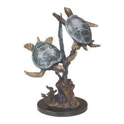 "SPI - Sea Turtle Duet with Seagrass - -Size: 14.5"" H x 13.5"" W x 8"" D"