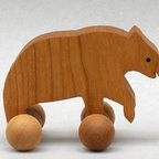 Wooden Bear Toy on Wheels by Arks and Animals - Here's a sweet woodland bear block on rollers for your little one to play with. I love that it's all natural and finished with nontoxic mineral oil.