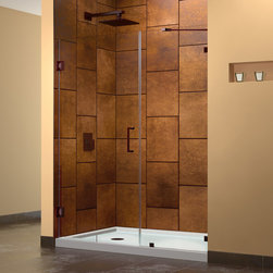 """Dreamline - UnidoorLux 72""""H Hinged Shower Door, Oil Rubbed Bronze Finish Hardware - The UnidoorLux Shower Door will impress with the fluid style of a completely frameless glass design. Premium thick tempered glass combined with high quality solid brass hardware deliver the rich look of custom glass at an incredible value. The UnidoorLux collection shines on your shower space with a streamlined design and elegant touches."""