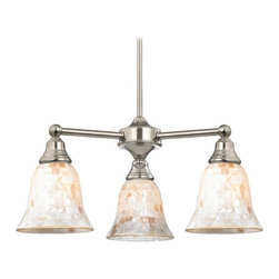 Design Classics Lighting - Mosaic Glass Mini-Chandelier in Satin Nickel Finish - 598-09 GL9222-M - Satin nickel finish chandelier light with mosaic glass bell shades. Includes one 6-inch and three 12-inch down rods that allow this mini-chandelier to hang at a minimum height of 20-inches up to a maximum of 56-inches. Takes (3) 100-watt incandescent A19 bulb(s). Bulb(s) sold separately. UL listed. Dry location rated.