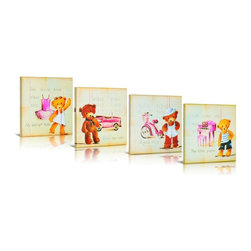 Green Frog - Green Frog My Teddy Bear 4 Piece Canvas Gallery Wrapped Art - GF0005 - Shop for Framed Art and Posters from Hayneedle.com! The Green Frog My Teddy Bear 4 Piece Canvas Gallery Wrapped Art set features a fabulously smart group of musicians mathematicians ballerinas and roadies. In plush pink this four-piece teddy bear set will brighten your baby's bedroom in delightful style. This set is painted on natural canvas and delivered stretched on frame.Make a difference with your purchase of Green Frog artwork. For every art piece or set sold Green Frog will make a matching donation to our military families. Green Frog supports Operation Homefront's Star Spangled Babies program which assists thousands of military and wounded-warrior families.About Green FrogBased in Lakewood New Jersey Green Frog has been producing distinctive dependable children's products since 1996. From premium cribs to rocking chairs wall decor to heirloom baby cradles Green Frog is committed to creating products children will love and parents will value for generations.Green Frog's commitment extends beyond high-quality children's furnishings to supporting our communities and nurturing our environment. For every wooden cradle Green Frog sells the company ensures a new tree is planted. And for every work of art sold Green Frog makes a matching donation to Operation Homefront's Star Spangled Babies a thoughtful and patriotic program that supports military and wounded-warrior families with all their baby's needs. Green Frog: Here for Years to Come.