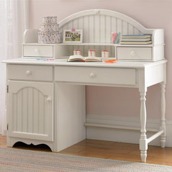Hillsdale - Westfield Desk & Hutch Set in Off White Finis - This item's innovative design configuration is augmented by robust details and a superior white finish. Hillsdale's Desk and Hutch includes solid wood frame, spindle legs, bead board details, two drawers and stationary shelf. A comprehensive set that offers great value. * For residential use. Includes desk and hutch. Hutch includes 2 drawers and 1 stationary shelf. Bead board details. Lovely sculpted feet. Minor assembly required . Desk: 53.25 in. W x 24.5 in. D x 30.75 in. H. Hutch: 51.75 in. W x 12.25 in. D x 17.75 in. HThe whimsical yet traditional styling of the Lauren desk and hutch makes it a delightfully timeless addition to any young girl's room. It provides a large amount of storage space with two large shelves and several drawers and the cork board inside the hutch allows for placement of notes or pictures. The drawers have French dovetail drawer fronts, English dovetail drawer backs and wood on wood drawer glides. The White finish coordinates with any d���cor you might choose.